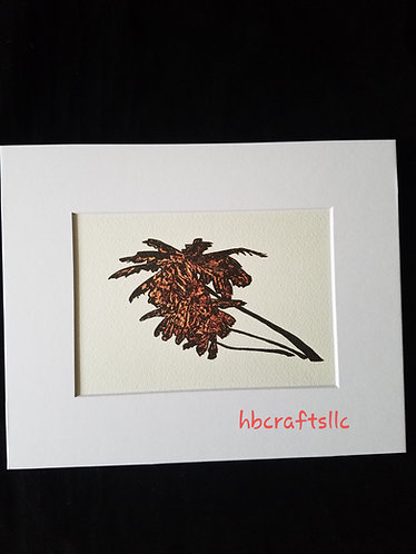 Pyrography on Paper Palm Tree Art Print