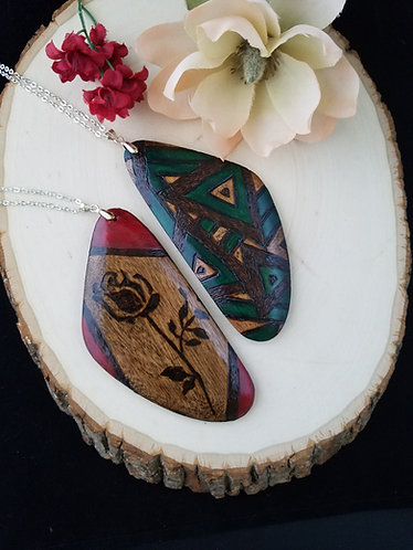 Large Pyrography Pendant Necklaces