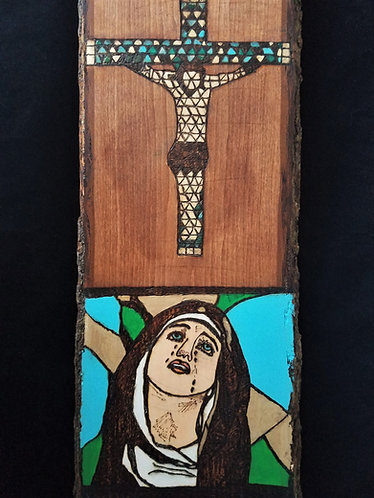 """Original Pyrography Artwork 23 x 8.25 in. """"At the Foot of the Cross"""""""