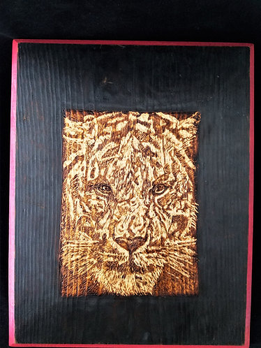 "Original Pyrography/Carved Wood Artwork 11x14 in. ""Watchful Eyes"""