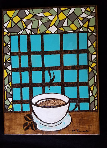 "Original Pyrography Artwork ""Coffee Time"""