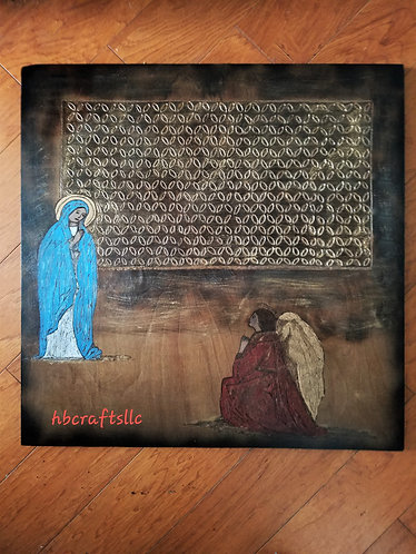 """Pyrography on Wood Original Artwork  24 x 24 in. """"The Annunciation"""""""