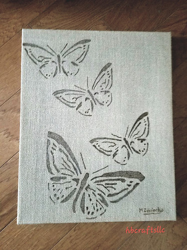 16 x 20 in. Large Burlap Canvas Butterfly Artwork