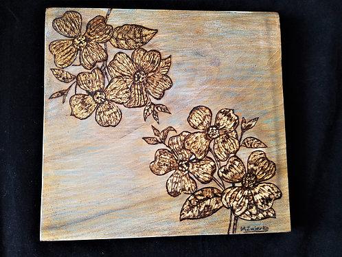"Original Pyrography Artwork 12 x 12 in. ""Art of Flowers"""