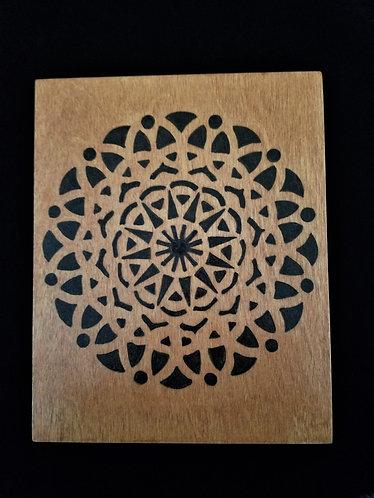 Geometric Pyrography Artwork 8 x 10 in.
