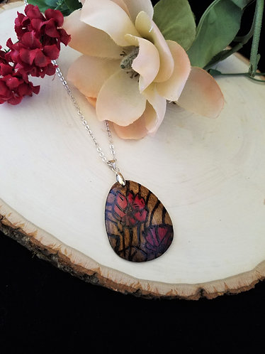Pyrography Floral Pendant Necklace
