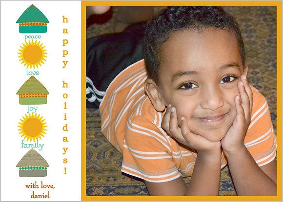 "tukuls and sun photocard, 5"" x 7"""