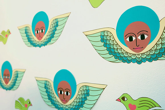 blue afro angel wall decals