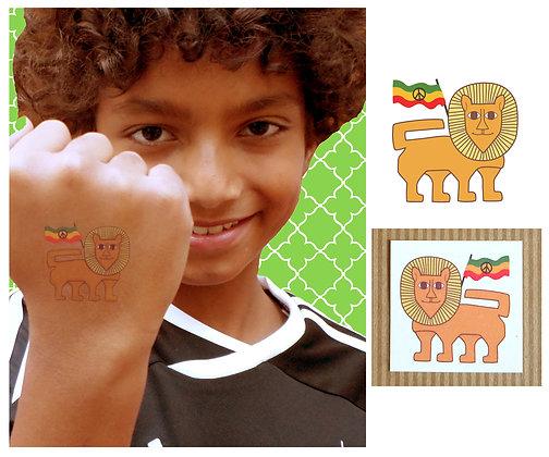 lion with peace flag tattoo
