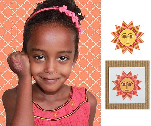 pink happy sun tattoo