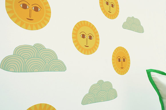 sun and cloud wall decals