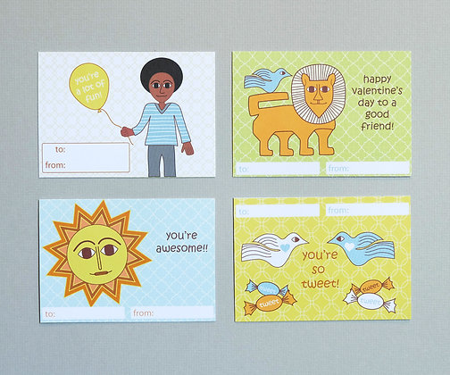 classroom valentines for boys - sun and animals