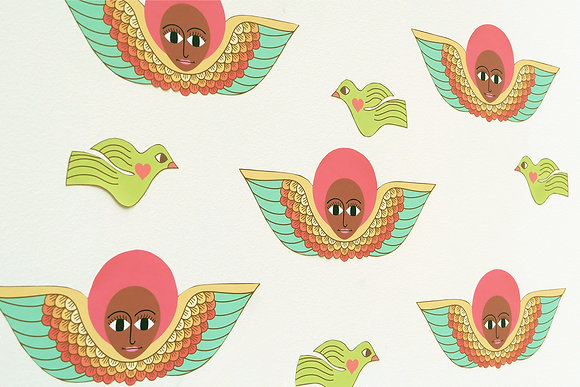red afro angel wall decals