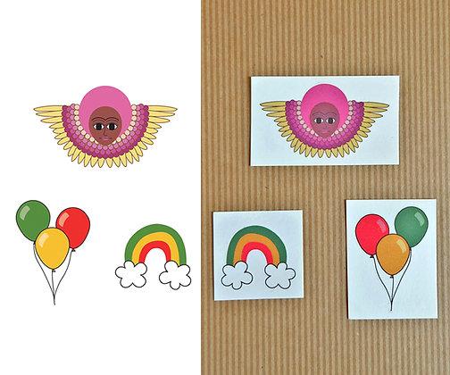 purple afro angel, rainbow, & balloons - set of 3