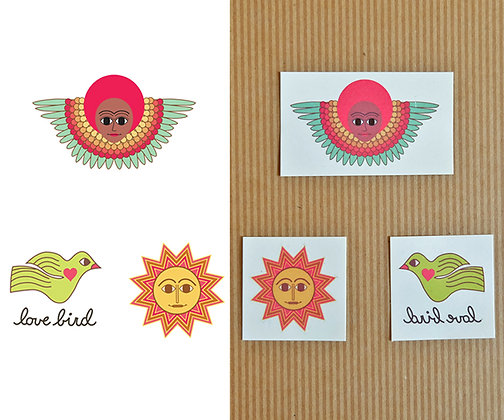 pink afro angel, love bird, & pink sun - set of 3