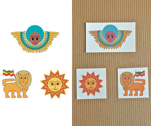 blue afro angel, lion and red sun - set of 3