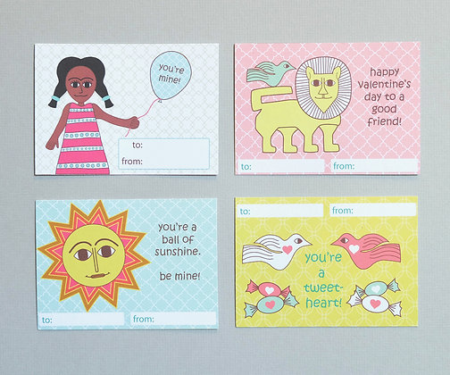classroom valentine's for girls - sun and animals