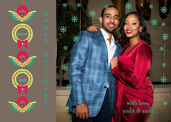 "angels & wreaths photocard, 5"" x 7"""