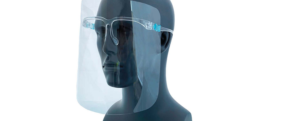 Clear Protective Face Shield w/Glasses Frame - 90029