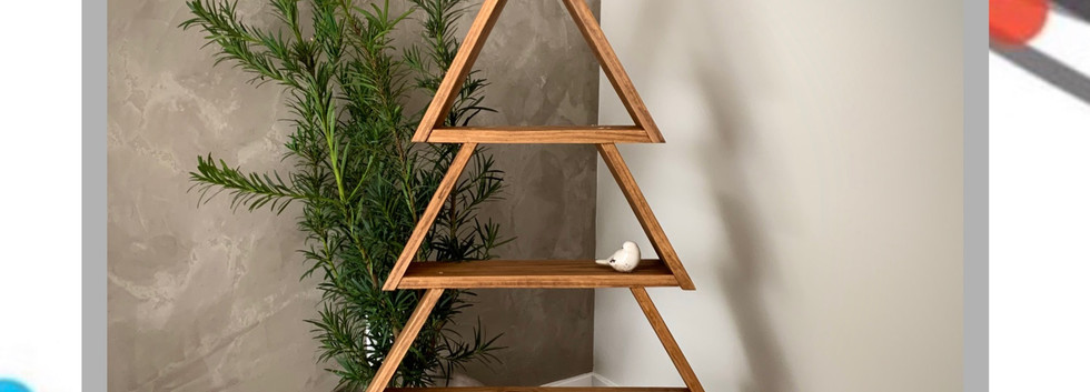 large wooden tree ornament shelf with ho