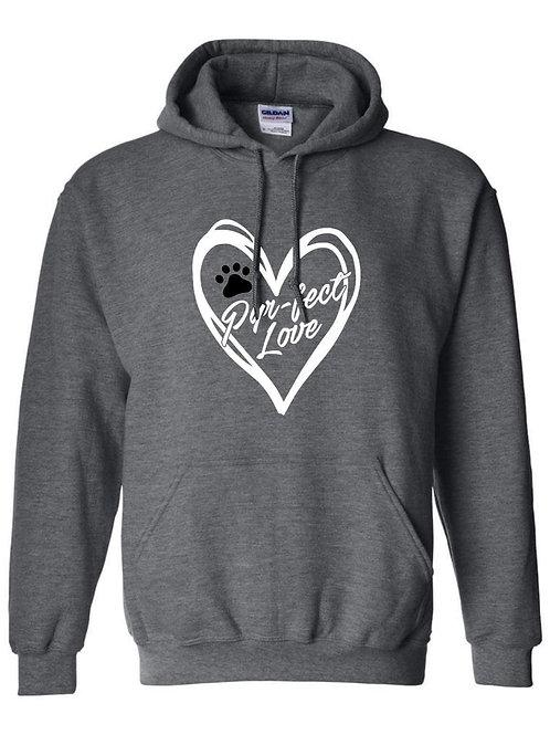 Perfect love dark grey (white heart) pullover hoodie