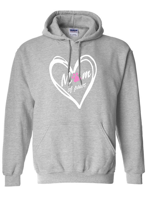 Mom of paws light grey pullover hoodie
