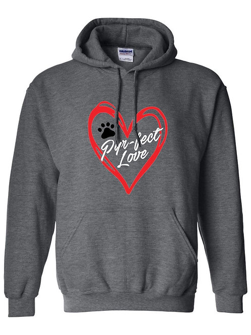 Perfect Love dark grey (red heart) pullover hoodie