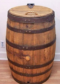 Whiskey Barrel Trash Can