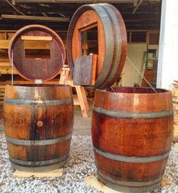 Whiskey Barrel Trash Can