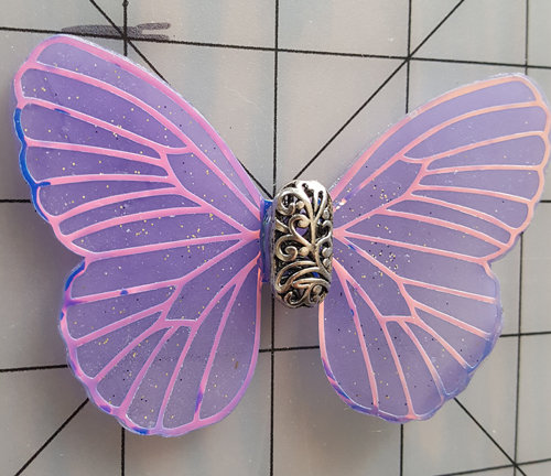 Mystic Opalescent Veined Iridescent Purple Decorative Resin Butterfly