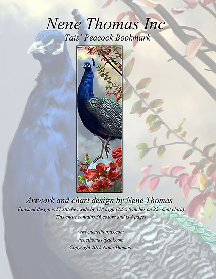 Tais' Peacock Bookmark Regular Cross-Stitch (Downloadable PDF)