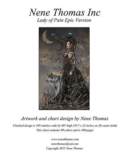 Bellamaestra, Lady of Pain Epic Printed Cross-Stitch
