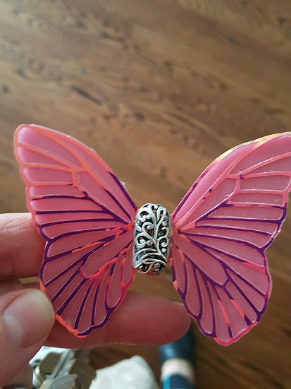 Elegance Pink Flame Veined Decorative Resin Butterfly