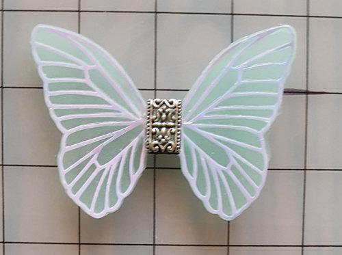Elegance White Veined Aquamarine Decorative Resin Butterfly