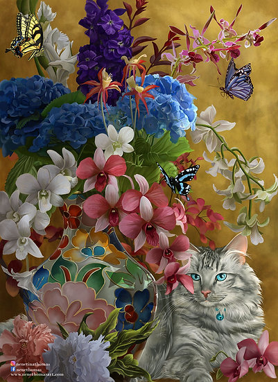 Gilded Cat and Flowers Art Print