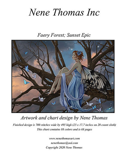 Faery Forest: Sunset Epic Printed Cross-Stitch