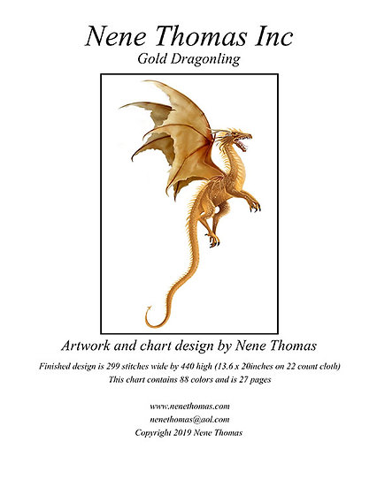 Gold Dragonling Regular Cross-Stitch (Downloadable PDF)