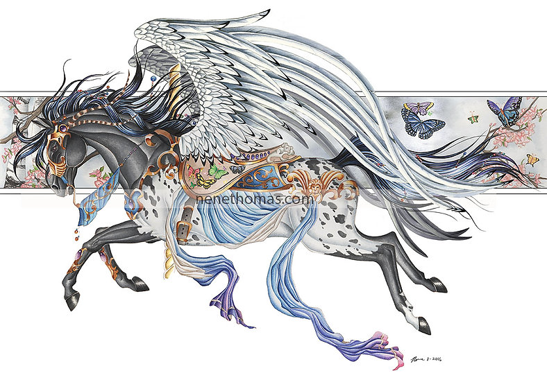 Carousel Horse: Cloudy Grey Art Print