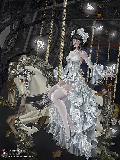 Haunted Carousel Art Print