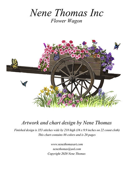 Flower Wagon Regular Printed Cross-Stitch