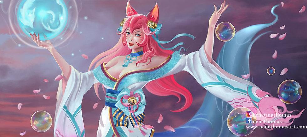 Spirit Blossom Ahri Art Print