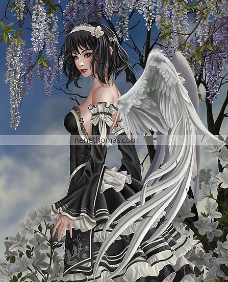 Angel and Flowers Art Print