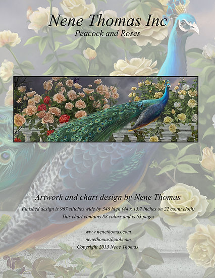 Peacock and Roses Regular Cross-Stitch (Downloadable PDF)