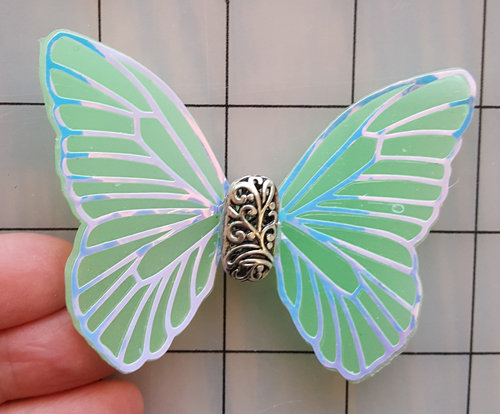 Elegance White Veined Green Decorative Resin Butterfly