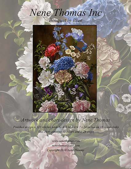 Bouquet in Blue Regular Cross-Stitch (Downloadable PDF)