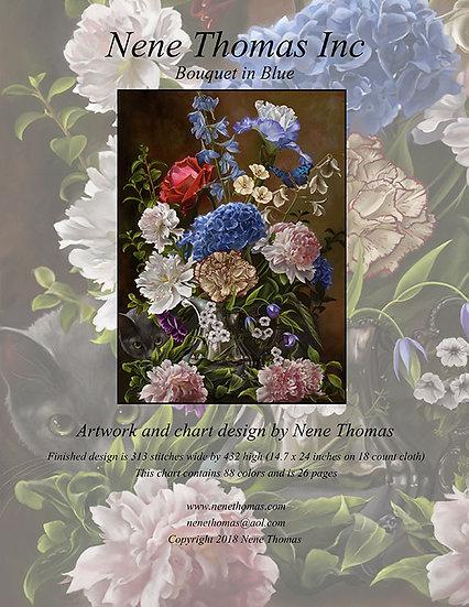 Bouquet in Blue Regular Printed Cross-Stitch