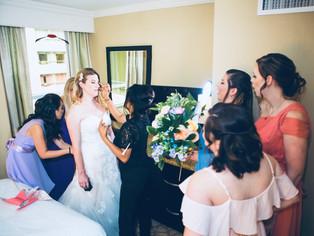 BRIDE GETTING MAKEUP SERVICES ON LACATIO