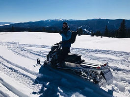snowmobile fun lookout view snow winter