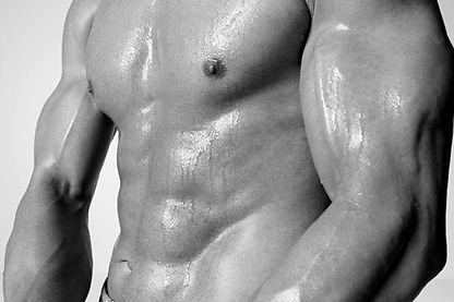 moscular man body with a six pack, black and white picture
