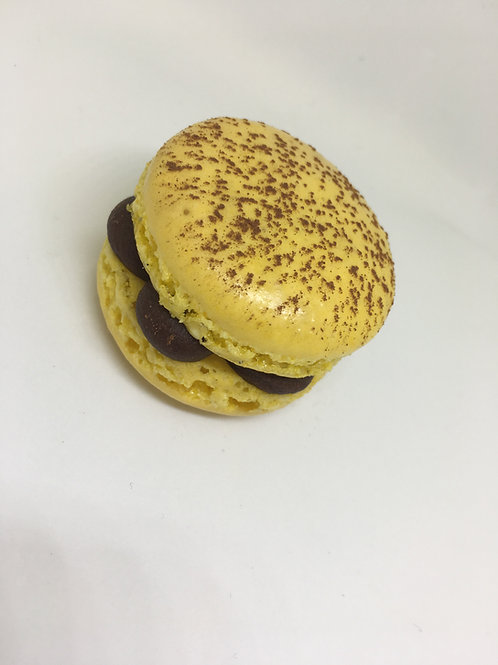 Passion fruit and chocolate macaron